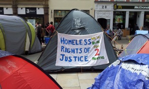 Protest camp banner in St Ann's Square
