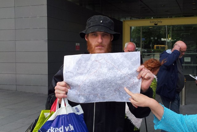 Wesley Dove with map of proposed exclusion zone