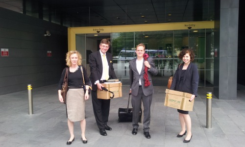AllTrials Team outside court after case. From the left: Tracy Brown (Sense About Science), Robert Dougans (solicitor), Jonathan Price (barrister) and Joanne Thomas (Sense about Science)
