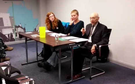From left: Emma Runswick (Save Our NHS), Caroline Martin (Gorton Against Poverty) and Sir Gerald Kaufman (MP for Manchester Gorton)