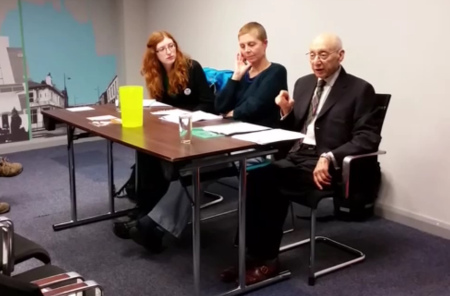 From left: Emma Runswick (Save Our NHS), Caroline Martin (Gorton Against Poverty) (chair) and Sir Gerald Kaufman (MP for Manchester Gorton)