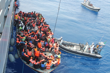 Migrants being rescued in the Mediterranean during Operation Triton. Photo: Irish Defence Forces